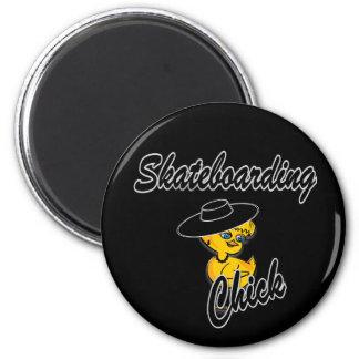 Skateboarding Chick #4 6 Cm Round Magnet