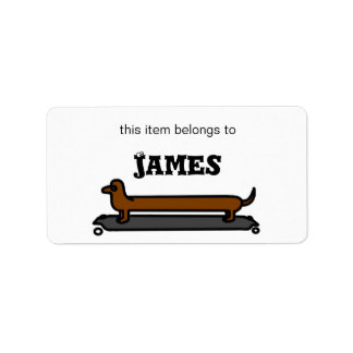 Skateboarding Dachshund dog name / address labels