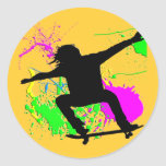 Skateboarding Extreme Round Sticker