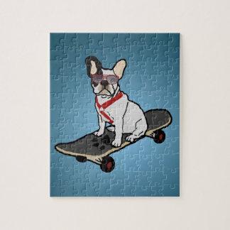 Skateboarding French Bulldog Dog Puzzle