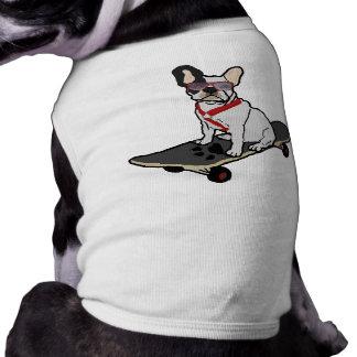 Skateboarding French Bulldog Dog Tee