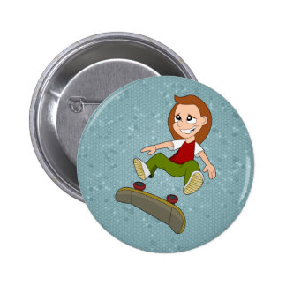 Skateboarding girl cartoon button