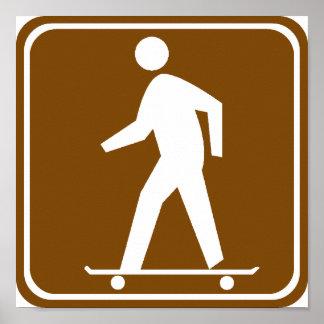 Skateboarding Highway Sign Poster