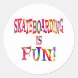 Skateboarding is Fun Round Sticker