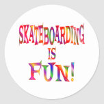 Skateboarding is Fun Round Stickers