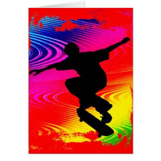 Skateboarding on Rainbow Grunge Greeting Card