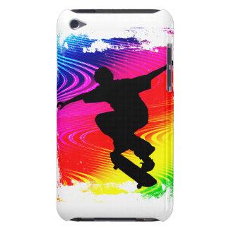 Skateboarding on Rainbow Grunge iPod Case-Mate Cases