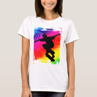 Skateboarding on Rainbow Grunge T-Shirt
