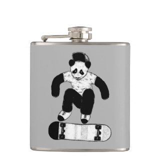 Skateboarding Panda Hip Flask
