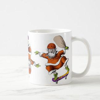 Skateboarding Santa Basic White Mug