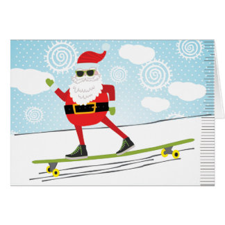 Skateboarding Santa Card