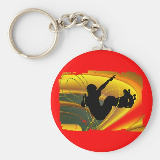 Skateboarding Silhouette in the Bowl Basic Round Button Key Ring