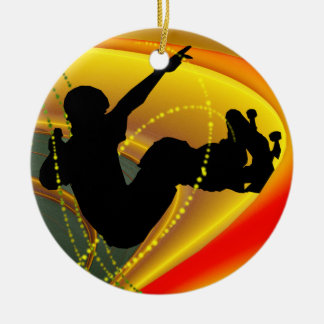 Skateboarding Silhouette in the Bowl Christmas Ornament