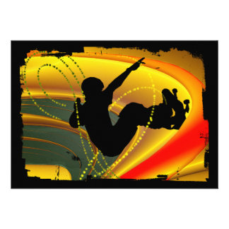 Skateboarding Silhouette in the Bowl Personalized Invitations
