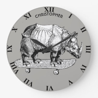 Skateboarding Skater Rhino Chubby Unicorn Funny Large Clock