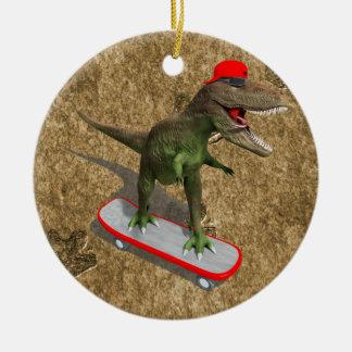 Skateboarding T-Rex Christmas Ornament