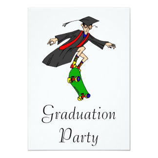 Skateboarding to graduation 13 cm x 18 cm invitation card