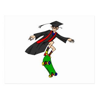 Skateboarding to graduation postcard