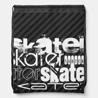 Skater; Black & Dark Gray Stripes Rucksacks