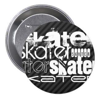 Skater; Black & Dark Gray Stripes 7.5 Cm Round Badge