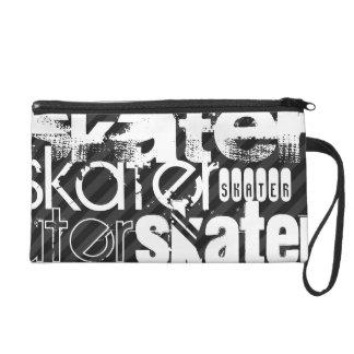 Skater; Black & Dark Gray Stripes Wristlet