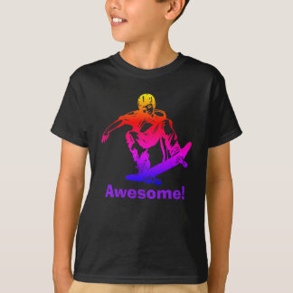 Skater Boy Awesome Rainbow Skateboarder T-Shirt
