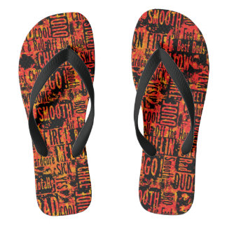 Skater Boy Words Orange Flip Flops