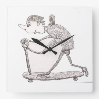 Skater Dude Square Wall Clock