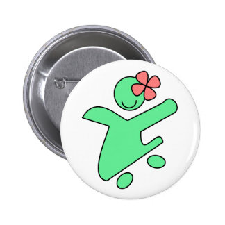 Skater girl button pin
