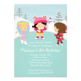 Skater Girl Ice Skating Birthday Party Invitation