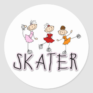 Skater Girl Round Stickers
