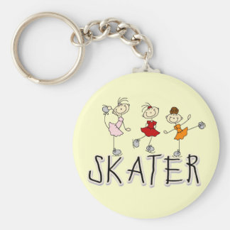 Skater Girl T-shirts and Gifts Basic Round Button Key Ring