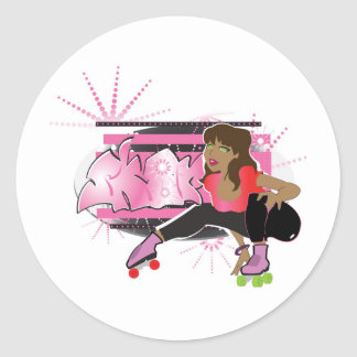 Skater Girl with Tag copy Round Sticker