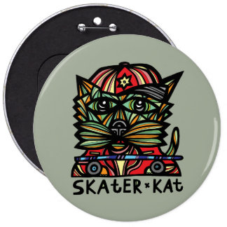 """Skater Kat"" BuddaKats 6 Inch Button"