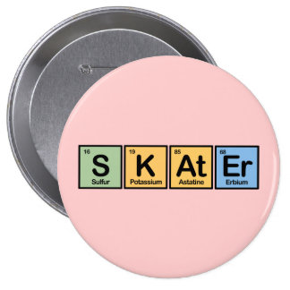 Skater made of Elements 10 Cm Round Badge