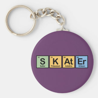 Skater made of Elements Basic Round Button Key Ring