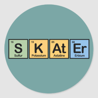 Skater made of Elements Classic Round Sticker