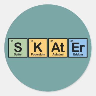 Skater made of Elements Round Sticker