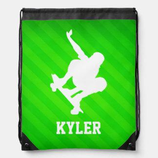 Skater; Neon Green Stripes Backpack