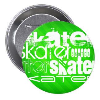 Skater; Neon Green Stripes 7.5 Cm Round Badge