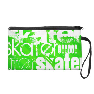 Skater; Neon Green Stripes Wristlet Clutch