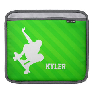 Skater; Neon Green Stripes iPad Sleeve