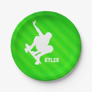 Skater; Neon Green Stripes Paper Plate