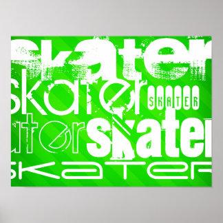 Skater; Neon Green Stripes Poster