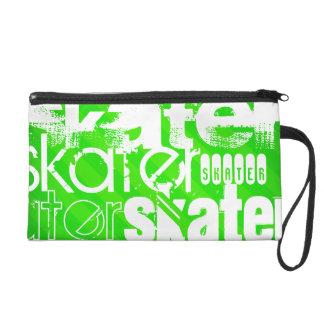Skater; Neon Green Stripes Wristlet Clutches