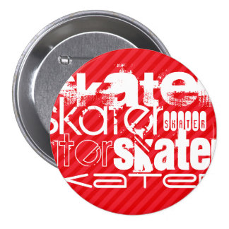 Skater; Scarlet Red Stripes 7.5 Cm Round Badge