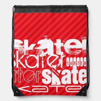 Skater; Scarlet Red Stripes Drawstring Bag