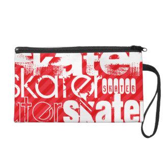 Skater; Scarlet Red Stripes Wristlet Clutch