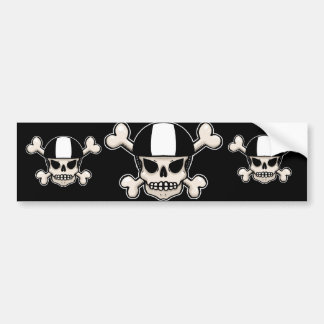 Skater skull and crossbones bumper sticker