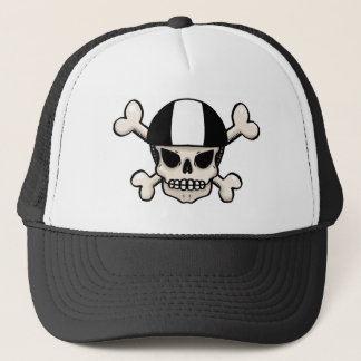Skater skull and crossbones trucker hat